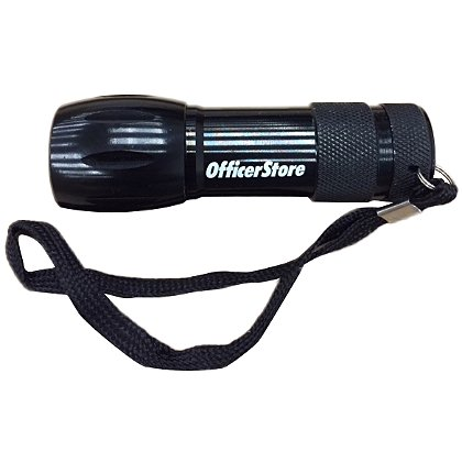 OfficerStore Black Metal LED Flashlight with White OfficerStore Logo