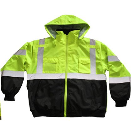 Petra Roc Lime with Black Bottom & Forearms Waterproof Bomber Jacket & Removable Liner