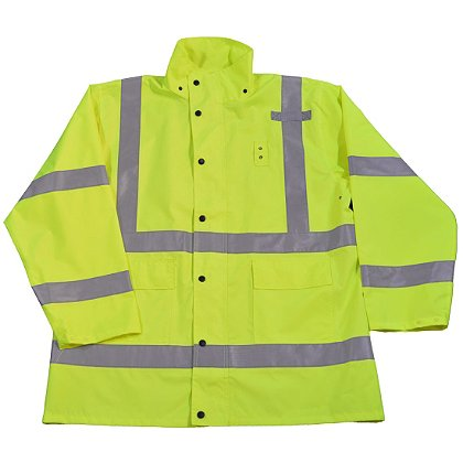 Petra Roc Hi-Viz Lime Water and Wind Proof Rain Jacket and Hood