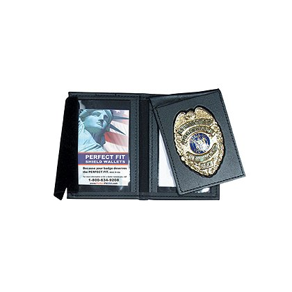 Leather Thin Line Badge w/ Flip/Double ID Case & Framed Windows