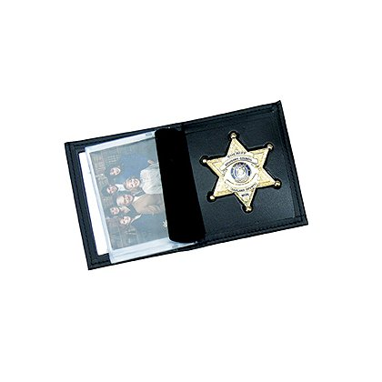 Perfect Fit Leather Badge Wallet, Bi-fold w/Single ID