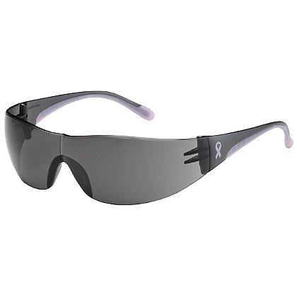 PIP Eva Rimless Safety Glasses with Gray / Pink Frame, Gray Lens, and Anti-Scratch / Anti-Fog Coating