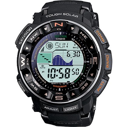 Casio Pro-Tek Solar Power Watch, Digital, Altimeter/Barometer, Tide/Moon, Black