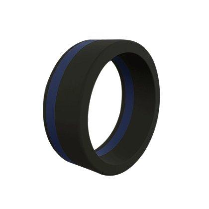 QALO Men's Thin Blue Line Pinstripe Silicone Ring