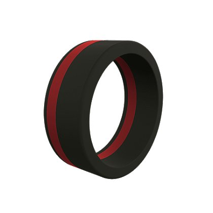 QALO Men's Thin Red Line Pinstripe Silicone Ring