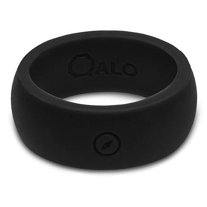 QALO Men's Black Outdoors Silicone Ring with Engraved Compass