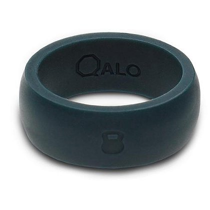 QALO Men's Slate Grey Silicone Ring with Engraved Kettlebell