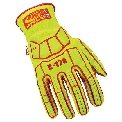 Ringers Cut5 Impact Compliant Glove Slip-On Elastic Cuff, Hi-Vis Yellow with Red Palm