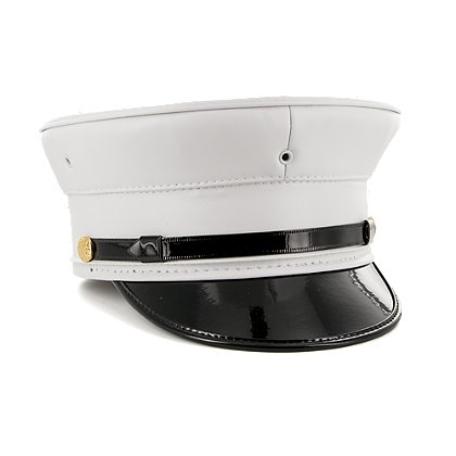 Keystone All-White Vinyl Uniform Bell Cap