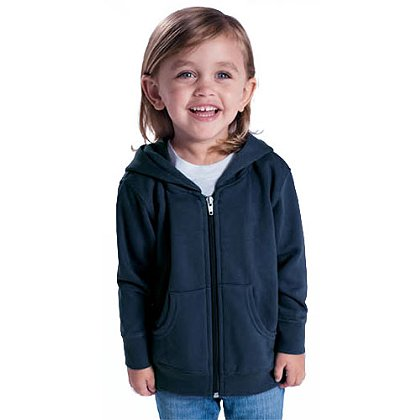 Rabbit Skins Toddler Full-Zip Hooded Sweatshirt, Navy