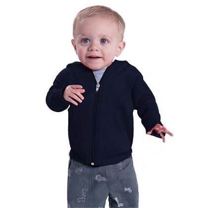 Rabbit Skins Infant Zipper Hooded Sweatshirt, Navy