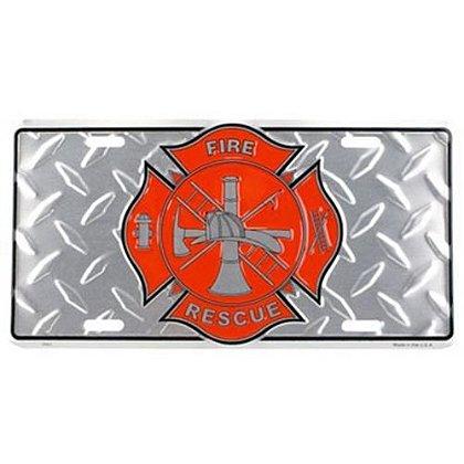Fire Rescue Maltese Cross License Plate