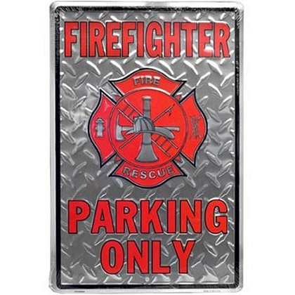 Metal FireFighter Only Parking Sign