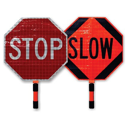 Roll-Up Stop/Slow SuperBright Paddles for Emergency Traffic Control