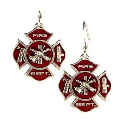 Maltese Cross Fire Dept. Scramble Earrings