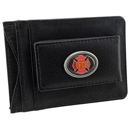 Fire Department Leather Money Clip Card Holder