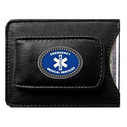 EMS Leather Money Clip Card Holder