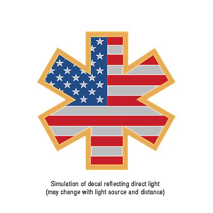 Exclusive Reflective Helmet American Flag Star of Life Decal