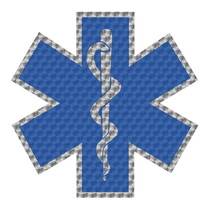 Decal Star Of Life Metallic Silver Leaf Blue Non Reflective Helmet Decal