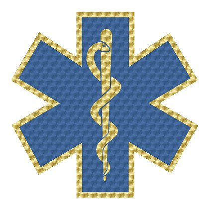 Decal Star Of Life Blue and Metallic Gold Leaf