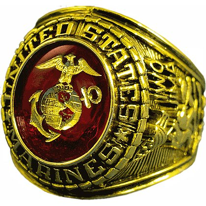Marine Corps Gold Ring w/ Logo Etched into Crystal, Style # 10