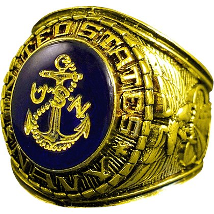 Gold Navy Ring w/ Gold Logo Etched into Crystal, Style # 10