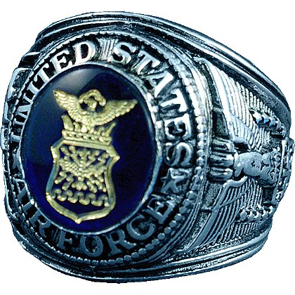 Son Sales Air Force Ring, Rhodium Finish with Sapphire Austrian Crystal Stone with 18K Gold Logo Etched into Stone, Style # 15