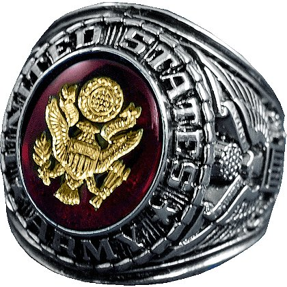 Son Sales Army Ring Rhodium Finish with Ruby Austrian Crystal Stone with 18K Gold Logo Etched into Stone, Style # 15