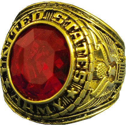 Army Gold Ring w/ Austrian Ruby, Style # 20