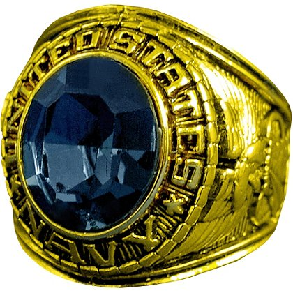 Son Sales Navy Ring, 18K Gold Electroplate with Sapphire Austrian Crystal Stone, Style # 20