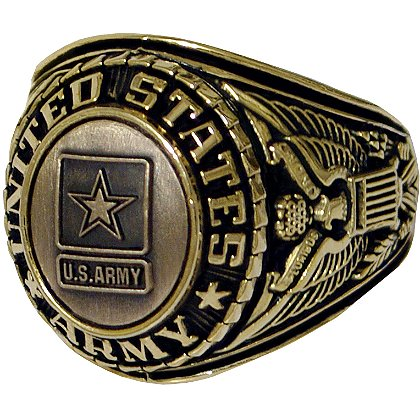 Son Sales Army Ring 18K Gold Electroplate, Cast Bronze Top with Detailed Insignia, Style # 21