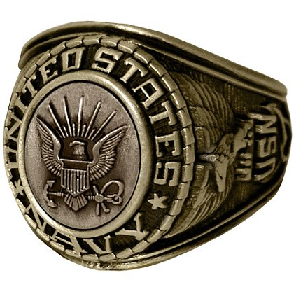 Son Sales Navy Ring, 18K Gold Electroplate, Cast Bronze Top with Detailed Insignia, Style # 21
