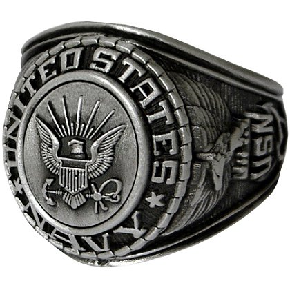 Son Sales Navy Ring, Silver Antique Finish, Cast Bronze Top with Detailed Insignia, Style # 22