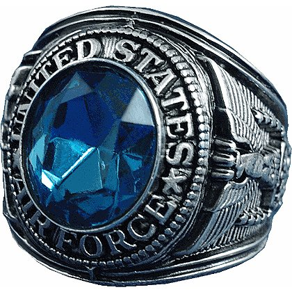 Son Sales Air Force Ring, Rhodium Finish with Sapphire Austrian Crystal Stone with 18K Gold Logo Etched into Stone, Style # 23