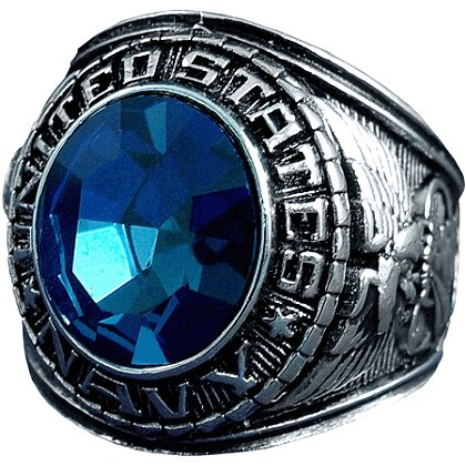 Son Sales Navy Ring, Rhodium Finish with Sapphire Austrian Crystal Stone, Style # 23