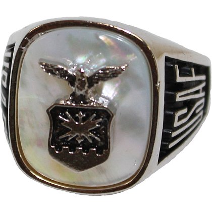 Son Sales Air Force Ring, Pure Rhodium Electroplate, Metallic Logo Set onto Genuine Mother of Pearl Stone, Style # 30