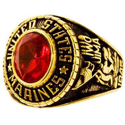 Son Sales Marine Corps Ladies Ring, 18K Gold Electroplate with Ruby Austrian Crystal Stone, Style # 70