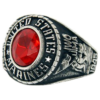 Son Sales Marine Corps Ladies Ring, Rhodium Finish with Ruby Austrian Crystal Stone, Style # 72