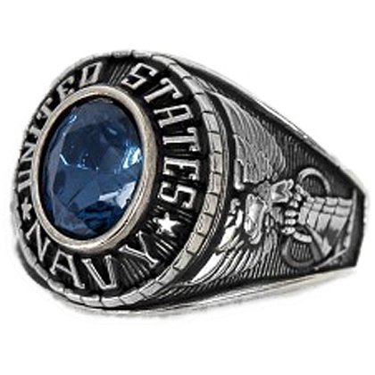 Son Sales Navy Ladies Ring, Rhodium Finish with Sapphire Austrian Crystal Stone, Style # 72