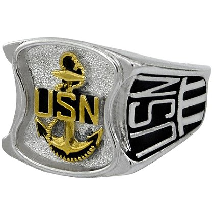 Navy Rhodium Ring, Logo on Top, Service Initials on Sides, Style # 80