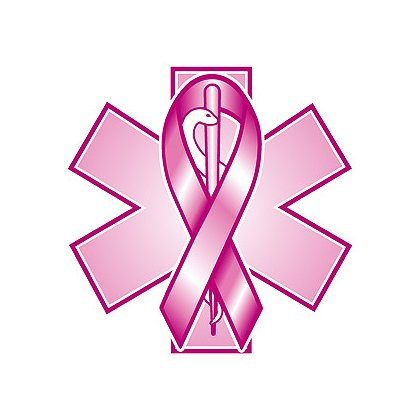 Decal Pink Star of Life with Pink Ribbon