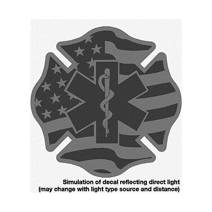 Decal Flag Maltese Cross with Star of Life Black Reflective 2