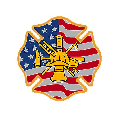 Exclusive Reflective American Flag Maltese Cross w/ Firefighter Scramble