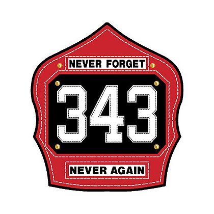 Commemorative Shield, Never Forget, 343, Never Again, Red