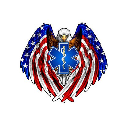 Exclusive Eagle with Flag Feathers and Star of Life Decal