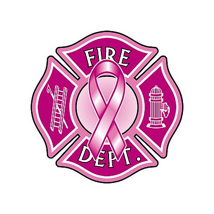 Pink Maltese Cross Decal with Pink Ribbon