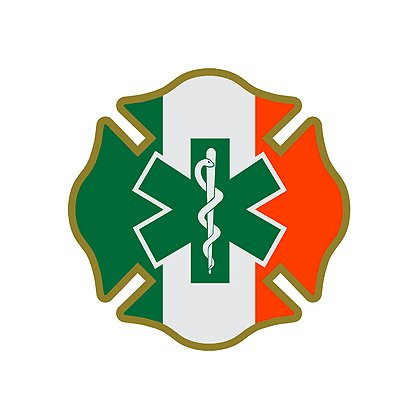 Decal Irish Green, White and Orange Maltese Cross with Green Star of Life