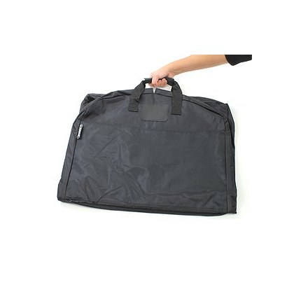 Strong Leather Ballistic Nylon Garment Bag, Black