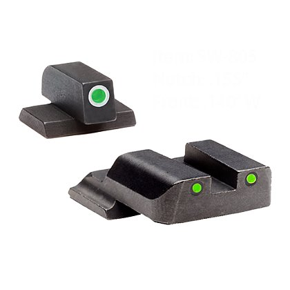 AmeriGlo Operator Night Sight Set for S&W M&P w/ Green Tritium Rear