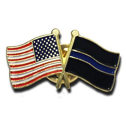 Thin Blue Line USA Thin Blue Line Flag & American Flag Pin